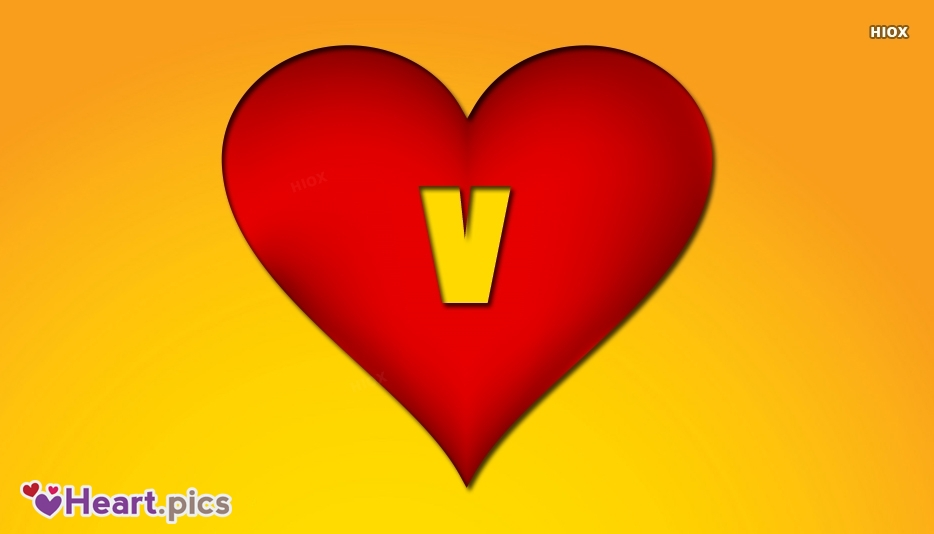 V Alphabet Love Heart Image