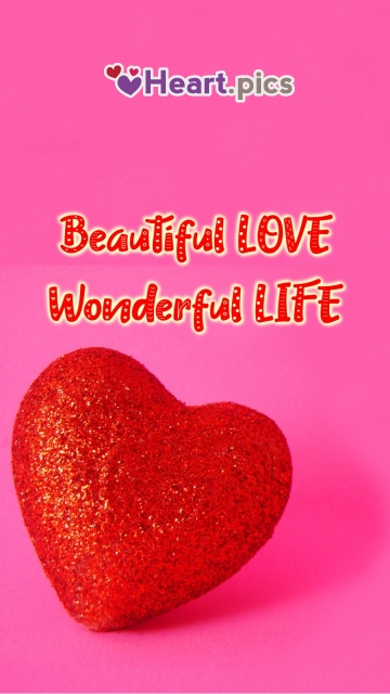 Beautiful Red Love Heart Image with Quotes