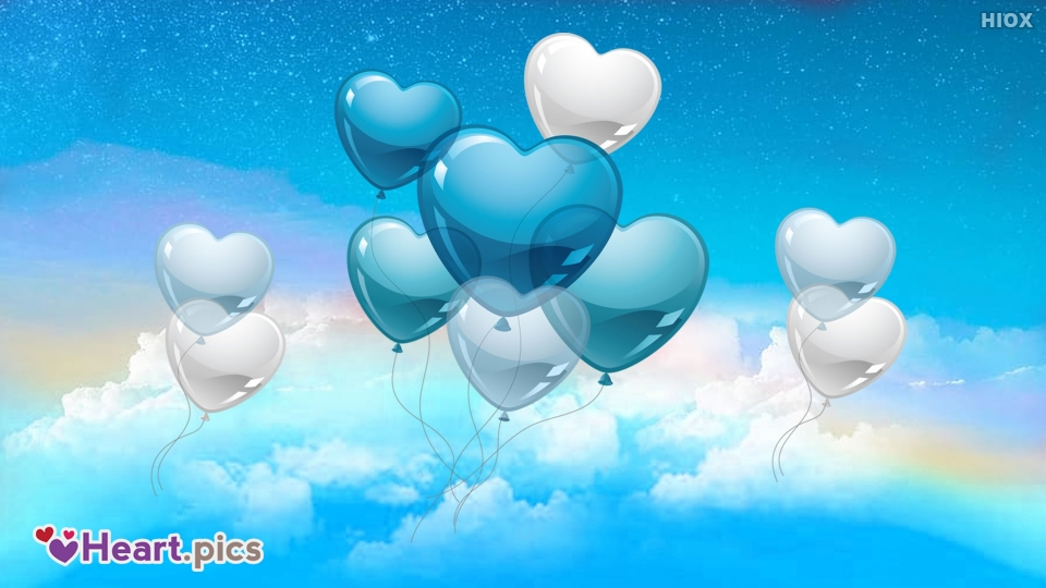 Picture Of Love Heart Balloons Over Blue Sky