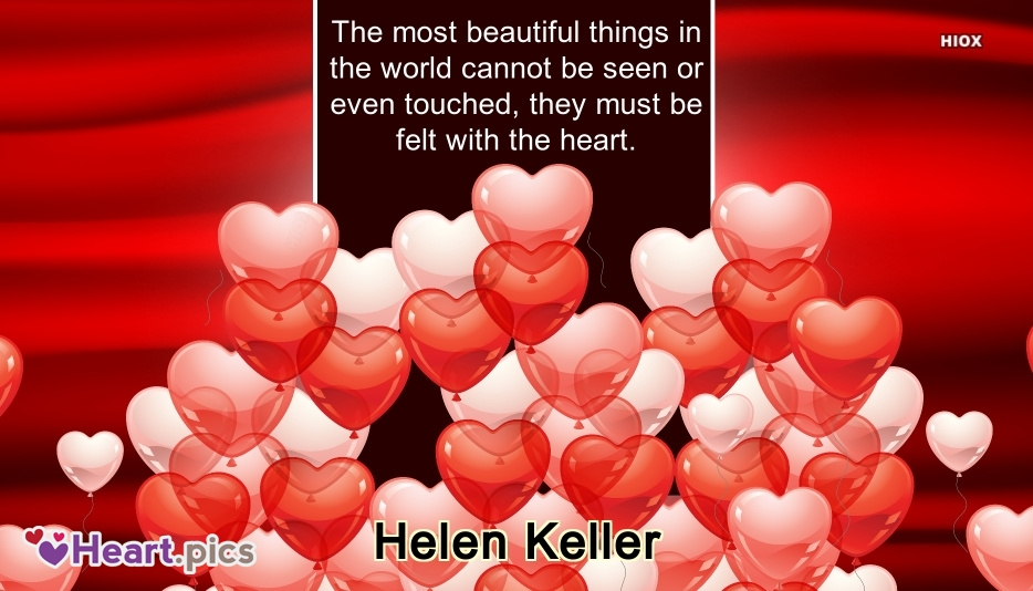 The Most Beautiful Things In The World Cannot Be Seen or Even Touched, They Must Be Felt With The Heart